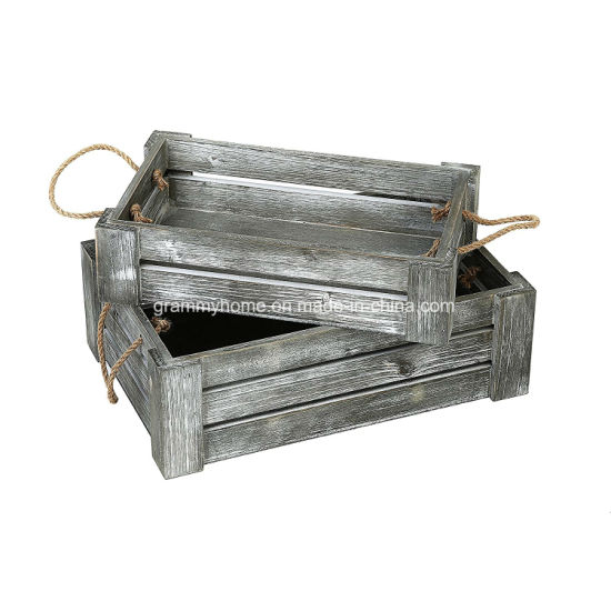 Decorative Whitewashed Gray Nesting Storage Crates With Twisted Rope Handles