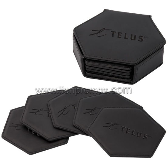 Restaurant Square Shape PU Leather Cup Mat Set