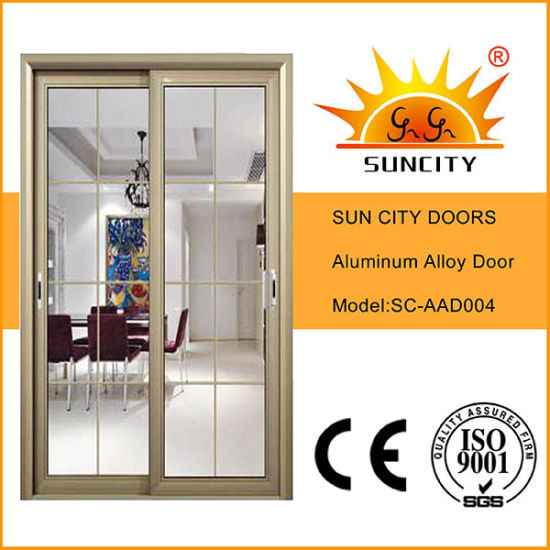 China Champagne Color Aluminum Frame Sliding Glass Doors Sc Aad004