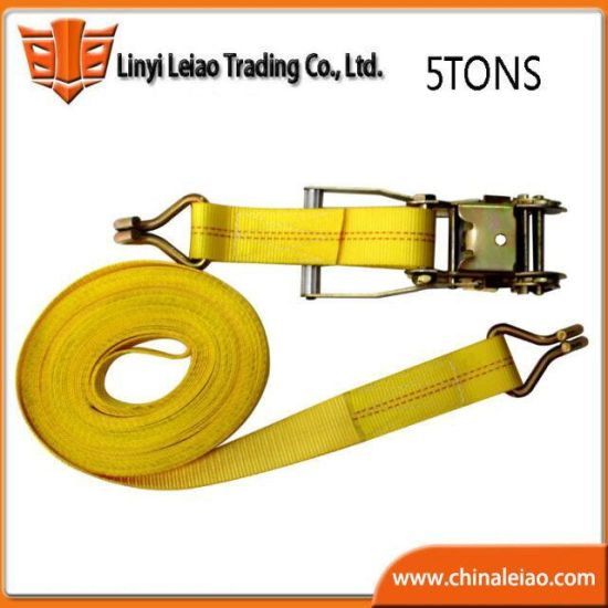 5t Yellow Polyester Cargo Lashing Ratchet Retractable Strap