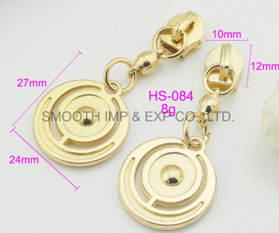 Fashion Metal Round Garment Accessories Hardware Gold Zipper Puller Slide