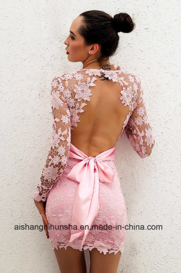 Women Deep V-Neck Long Sleeve Lace Floral Dress pictures & photos