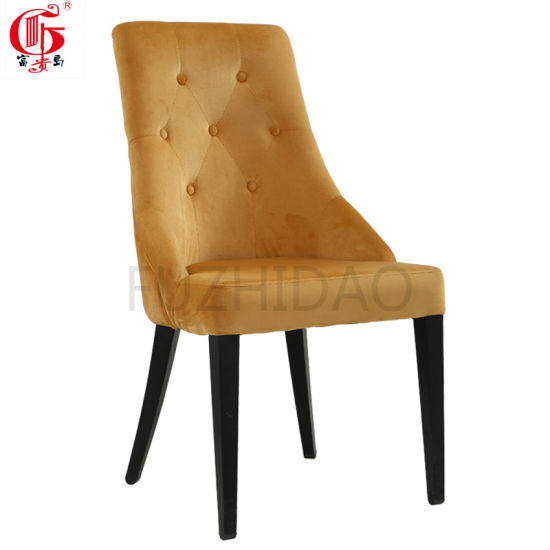 Yellow Velvet Cushion Dining Chair