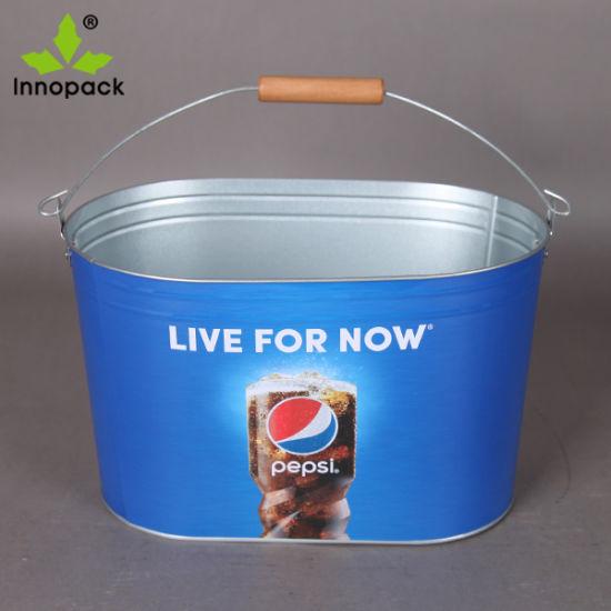 Wooden Handle Ice Bucket Metal Tin Bar Cooler Ice Bucket