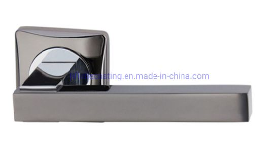 New Design Black Chrome High and Zinc Alloy Door Handle on Square Rose pictures & photos