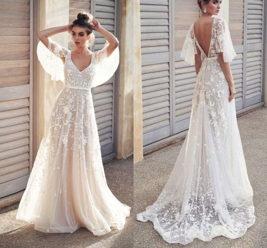 China Boho Bridal Gown Lace A Line Simple Beach Wedding Dress W201331 China Wedding Gown And Zuhairmuard Wedding Dress Price