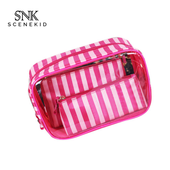 High Quality Top Zipper Soft Travel Use PVC Clear Makeup Bag, Ladies Waterproof Portable Cosmetic Bag