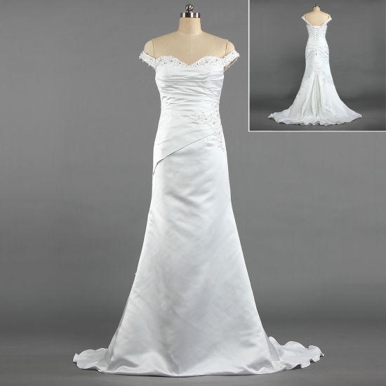 W253 Vintage Women's off Shoulder Straps Satin Bridal Dresses