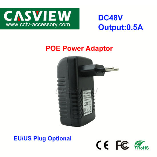 DC48V 0.5A Poe Power Adaptor Injector Power Ethernet Supply Adapter for Wireless IP Camera pictures & photos