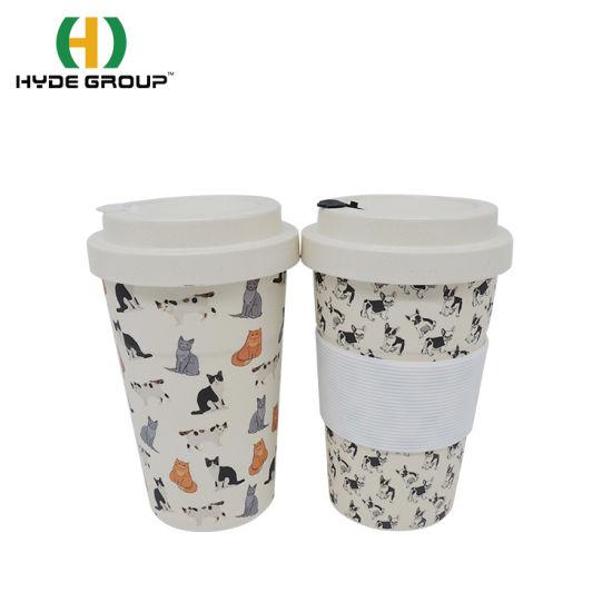 Biodegradable Reusable Customized Decal Printing Bamboo Fiber Lid Bamboo Fiber Cup