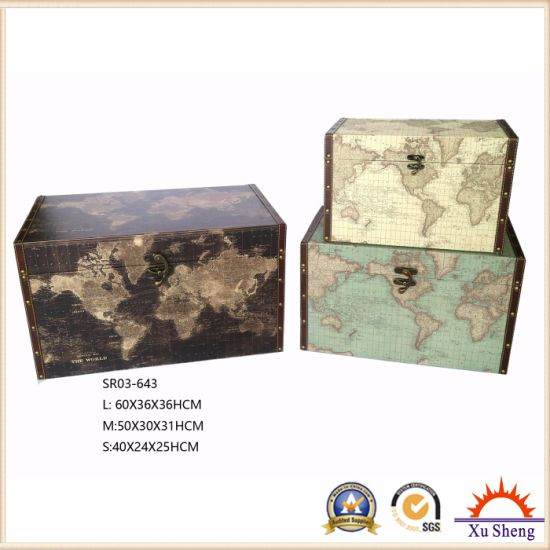 Home Furniture Wooden Decorative Vintage Light Blue World Map Print Storage Trunk pictures & photos