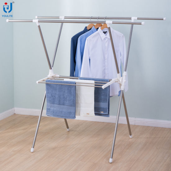 354f547d0d84 Foldable Stainless Steel Extendable X-Type Clothes Hanger Metal Rack