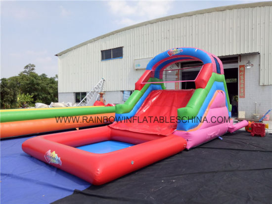 China No Printing Inflatable Climbing Wall And Slide With Swimming Pool China Water Slide
