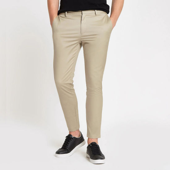 Stretch Cotton Twill Men's Slim Chinos Casual Trousers Hot Selling