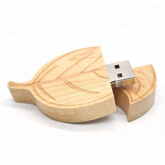 Tree Leaves Maple Wood USB Flash Drive
