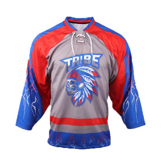 Team Logo Digital Printing Custom Made Sublimated 100% Polyester Ice Hockey Jerseys