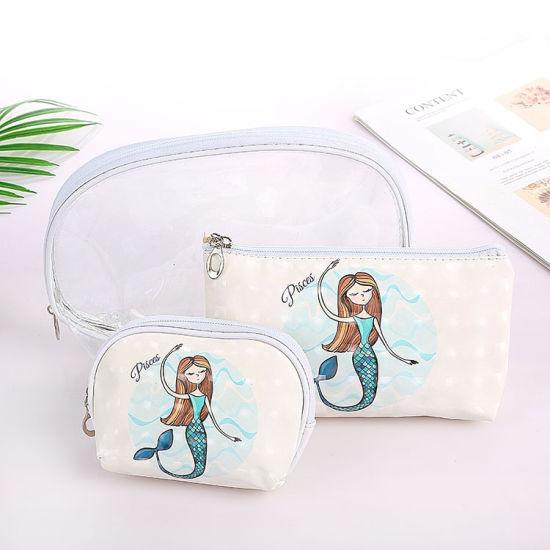 1e04dc5905f8 China 3PCS/Set Unicorn Printed Makeup Bags Female Waterproof ...