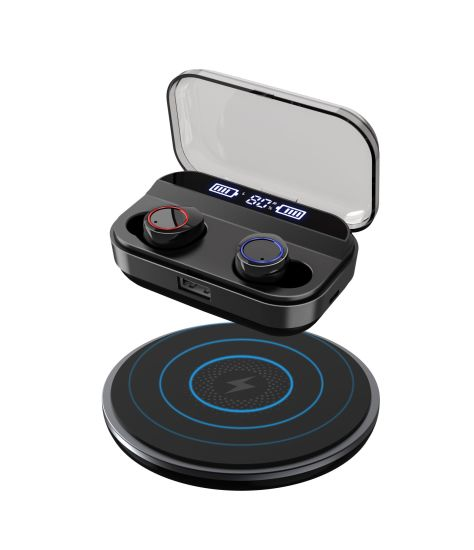 Wireless Charging Tws Earbuds Bluetooth 5.0 Ipx 7 Waterproof Headphones HiFi Sound with Battery LED Display and Power Bank Fucntion