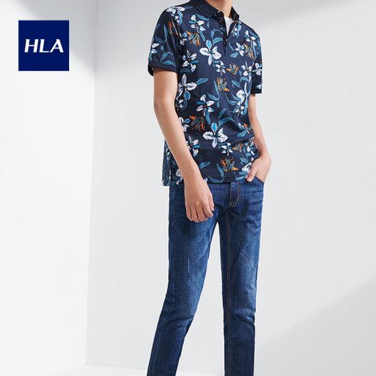 Hla Fashion Short-Sleeved Mercerized Cotton Polo 2020 Summer New Personality Floral Polo Shirt Men