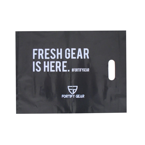 Glossy Black Plastic Bag with Die Cut Handle, Printed Bag, Shopping Bags with Customized Design