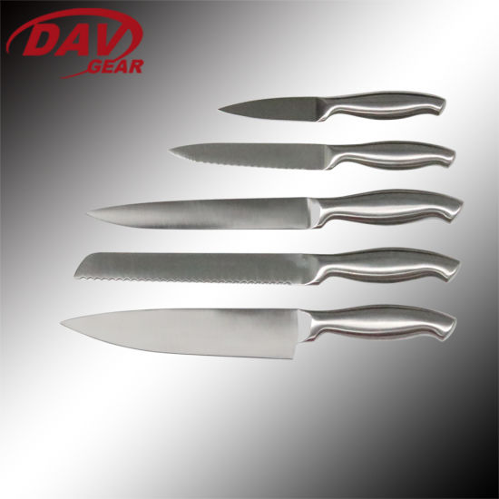 Kitchen Knife Set/5PCS Stainless Steel Satin Blade and 430 Steel Handle