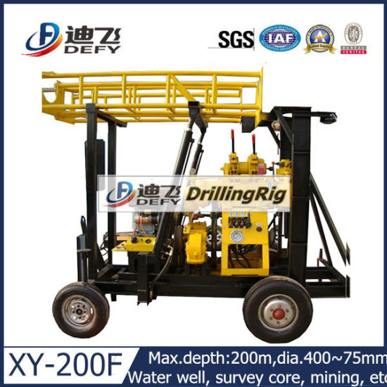 China Wheel Type 200m Portable Water Well Drilling Rig for
