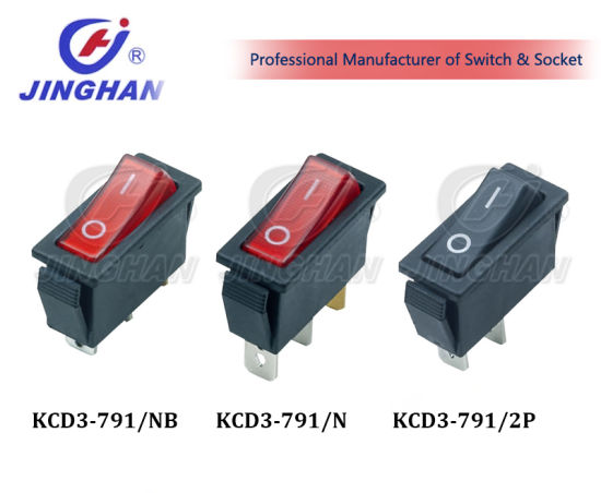 Kcd3-103 Red Button Electrical Rocker Switches for Electric Fireplace