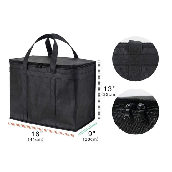 Insulated Shopping Bags for Groceries or Food Delivery, Sturdy Zipper, Foldable, Washable, Heavy Duty, Stands Upright, Completely Reinforced Bottom