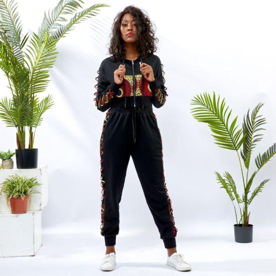 Wholesale African Women Hoodies 2 Pieces Sweatsuit Set