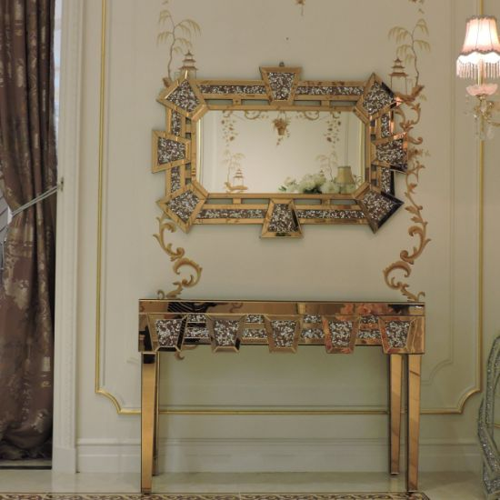 Mirrored Console Table Furniture, Rose Gold Mirrored Furniture