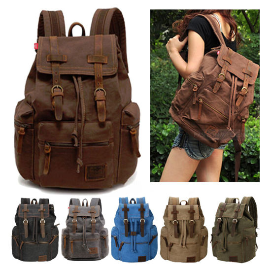 Men Women Retro College School Bags Backpack Mochila Vintage Drawstring Backpack Laptop Travel Canvas Rucksack pictures & photos