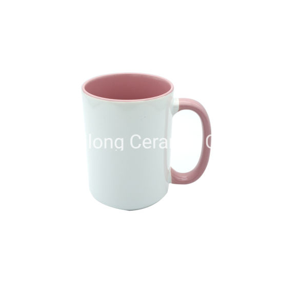 15oz White and Colord Ceramic Sublimation Mug