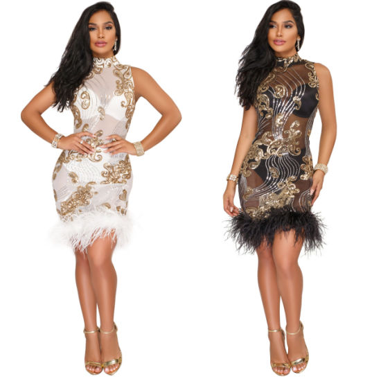 European and American Explosions Fashion Sequins Mesh Perspective Dress Furry pictures & photos