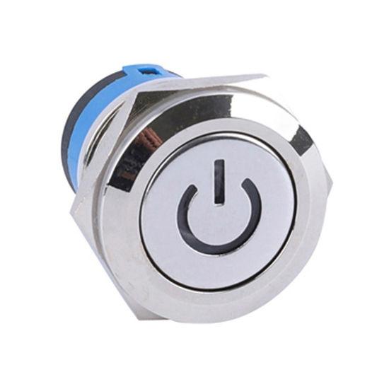 Power Symbol Illuminated 12V Blue 19mm Momentary Push Button Switch