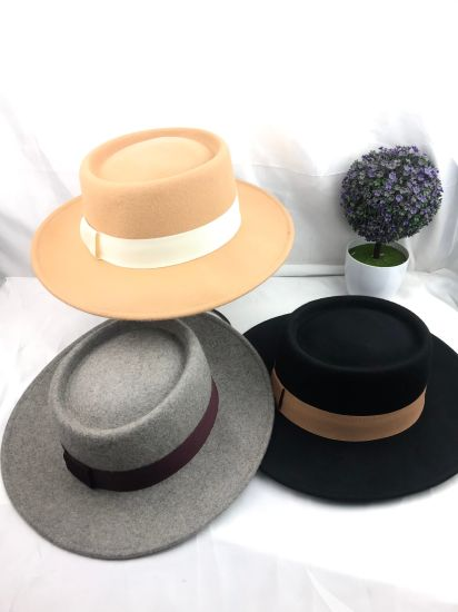 100% Australia Wool Felt Fedora Porkpie Hat for Women and Man Wholesale