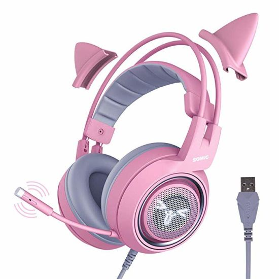 2020 New Somic Trend Gaming Virtual 7.1 Surround Sound Vibration Headphone with Cat Ear Girl's Gift