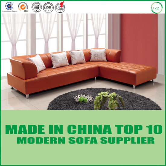 Modern Living Room L Shape Sectional Orange Leather Sofa