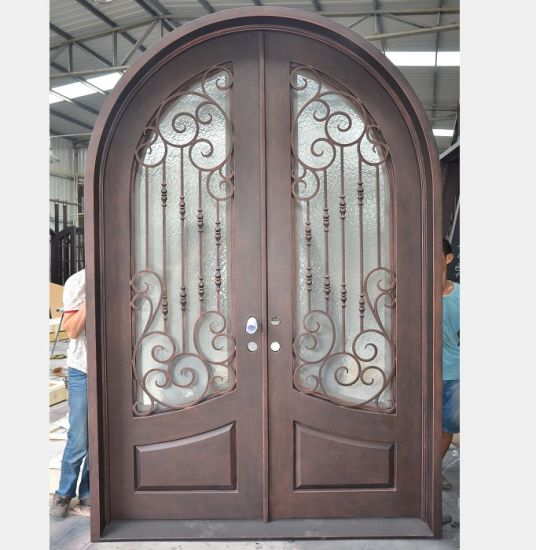 China Full Round Top Premium Quality Entry Door With Elegent Scroll