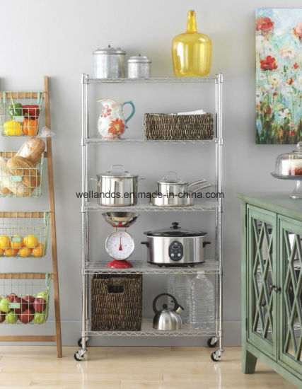 Multifunction Light Duty Storage Rack 5 Tier Kitchen Wire Shelving W Wheels Pictures Photos