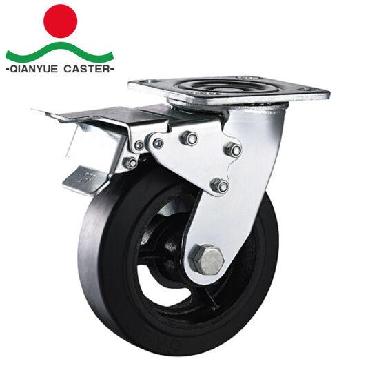 Heavy Duty Plate Cast Iron Rubber Caster With Foot Break