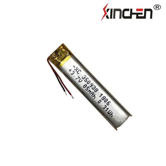 3.7V 350938 100mAh 400938 115mAh 500938 130mAh Bluetooth Earphone Hearing Aid Customizable Lithium Polymer Battery