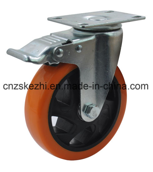 Medium Duty Type Doubel Ball Bearing PU Castor Wheel