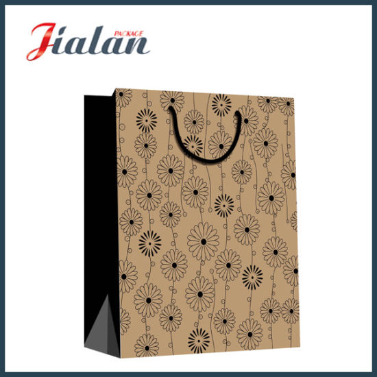 Black Dots Printed Custom Wholesales Promotion Kraft Paper Shopping Bags pictures & photos