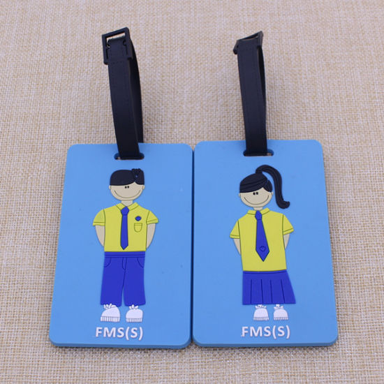 High Quality Genunine Leather Luggage Tags with Blue pictures & photos
