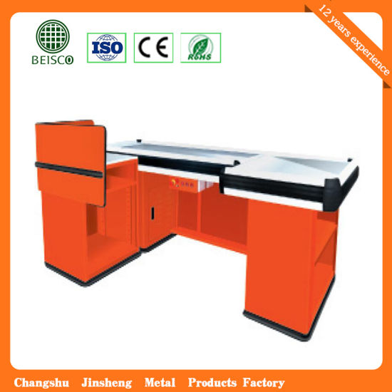 Supermarket Store Stainless Cashier Desk pictures & photos