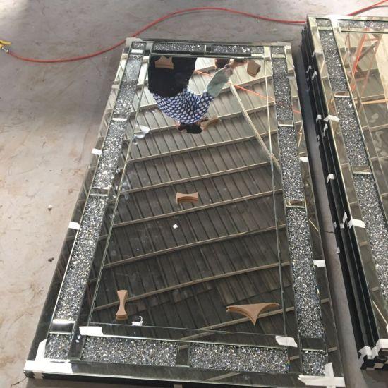 China Hot Sale Silver Crushed Diamond Crystal Wall Mirrors China Wall Mirror Mirror