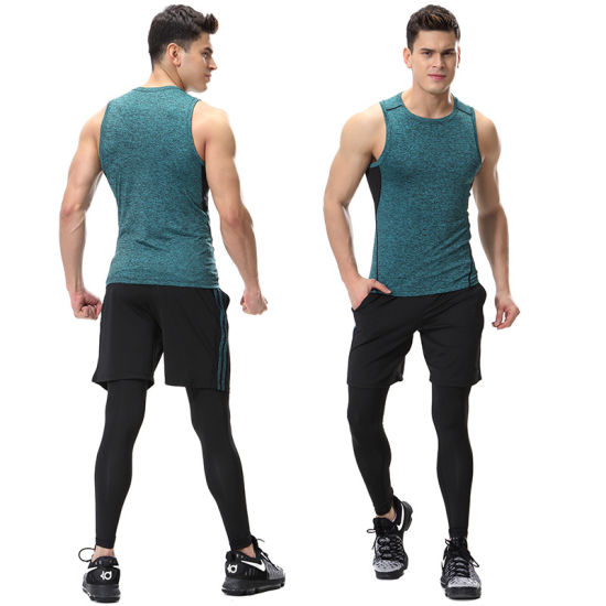2018 New Arrival Wholesale Color Combination Dry Fit Mesh Sportswear Fitness Men Gym Suit