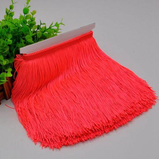 High Quality 30cm Polyester Fluo Color Chainette Fringe Tassel for Dance Dress
