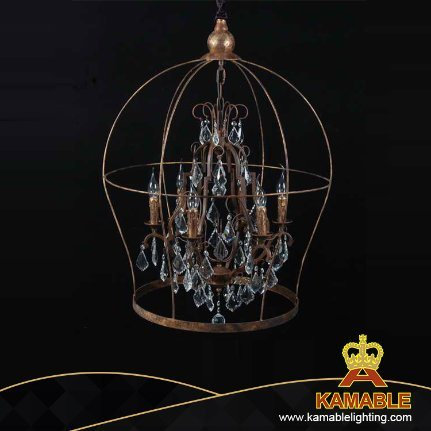 America Vintage Rustic Style Iron Crystal Pendant Lamp (GD9033-6)