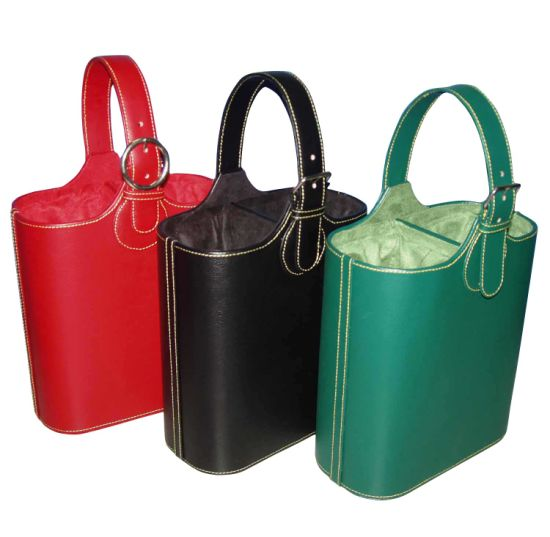 High Quality Classic PU Leather Wholesale Wine Basket (4046R2) pictures & photos